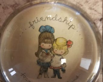 Vintage Friendship Glass Dome Paperweight