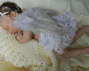 Reborn Baby  Doll   Feather wings leaf hairband and white frilly knickers photo prop silicone doll newborn baby