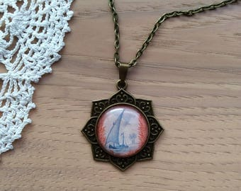 Blue Sailboat - Coastal Scene - Cabochon Necklace - Round Rosette Pendant Necklace - Antique Brass Bezel and Chain