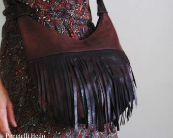 """Bag """"adventurer"""" leather chocolate brown with fringe"""
