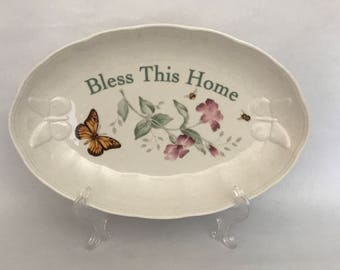 LENOX Oval CHINA BOWL, Butterfly Meadow, Louise LeLuyer, Lenox Serving Bowl, Bless This Home Bowl, Housewarming Gift, Bless This Home Tray