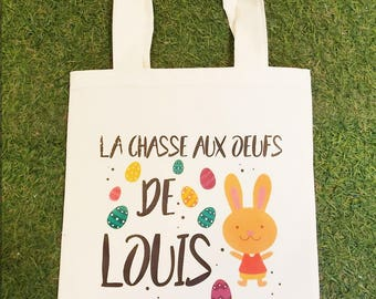 Easter bag in cotton with name for egg hunt