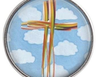 C0899  Art Glass Print Chunk - Palm Cross on Blue Sky w/Clouds