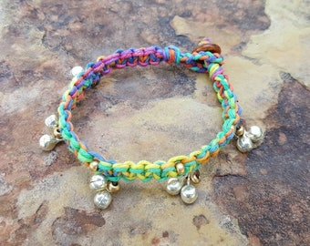 Kids Hemp Anklet, Rainbow Anklet, Bell Anklet, Childrens Jewelry, Gift, Hemp Anklet, Handmade, Rainbow Hemp Anklet, Fun, Daughter Gift, Hemp