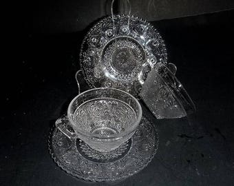 Clear Sandwich Glass, Cup and Saucer,  2 sets in excellent condition cup and saucer, pressed glass,  mid century, pressed glass