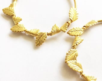 Gold hoop leaf earrings