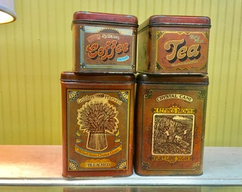 Vintage Tin Canister Set, Set of 4 Canisters, Tin Canisters, Retro 70's Tin Containers