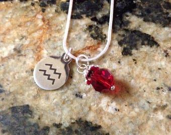 Zodiac Birthstone Necklace - Aquarius/January