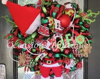 ON SALE Christmas Wreath, Santa Wreath, Holiday Wreath, Christmas Decoration, Door Hanger, Large Front Door Wreath, Whimsical Wreath, Ready