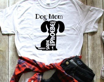 Dog Mom Personalized Dog Names Tee Womens T-Shirt L Cotton NEW S,M,L,XL