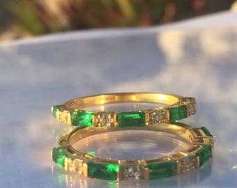 Emerald Baguette Diamond Gold Wedding Band Stacklble Ring