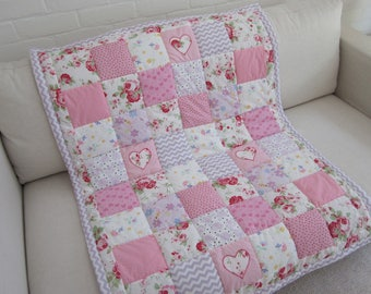Handmade  Patchwork Cot - Bed Quilt