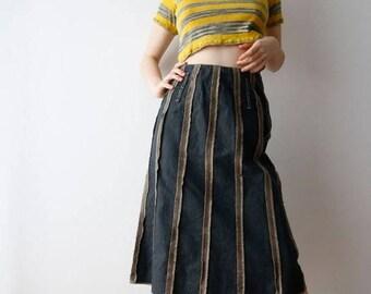 Vintage Midi Denim Skirt Dark Long Denim Skirt Striped Skirt High Waist Skirt Denim Pencil Skirt Mixed Fabric Skirt Medium Size Skir