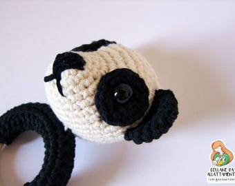 Teething ring Wanda the pandas in cotton and wood