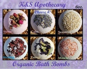Organic Bath Bombs Set! (Four) 6oz All Natural Bath Bomb Gift Set, Organic Gift for her, Natural Dye, Bulk Gift Set.