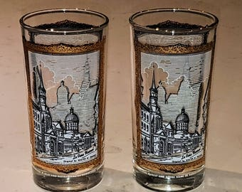 TWO glass printed highballs, Old Montreal souvenir, Marche Bonsecoure and Chapelle Notre Dame de Bonsecoure, vintage souvenir, vintage bar