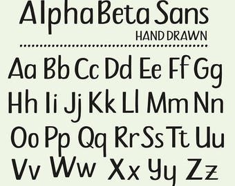 Hand drawn Clipart Alphabet Sans Serifs Lower Case Upper case Letters Minuscules Majuscules Capitals Vector EPS Instant Digital Download