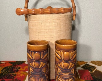 Exceptional 2 Vintage Tiki Mugs Glasses Barware By Libby