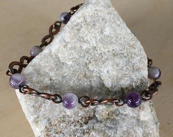 Women's link Bracelet - Size small to medium - Amethyst - Handmade Copper Metal Artisan Jewelry