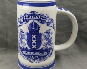 Delft Blue Delfino Holland Beer Stein Mug