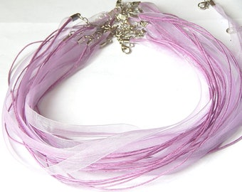 1 Purple organza necklace with lobster clasp 47cm