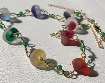 """17.5"""" Gold Filled Sea Glass Rainbow Necklace Multicoloured Multi Seaglass And Teal Beads - Red, Orange, Yellow Green Blue"""