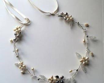 Pearl flower hair vine/halo
