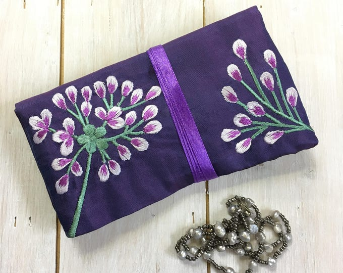 Handmade Silk Jewellery Roll with Embroidery, Fairtrade - lavender purple