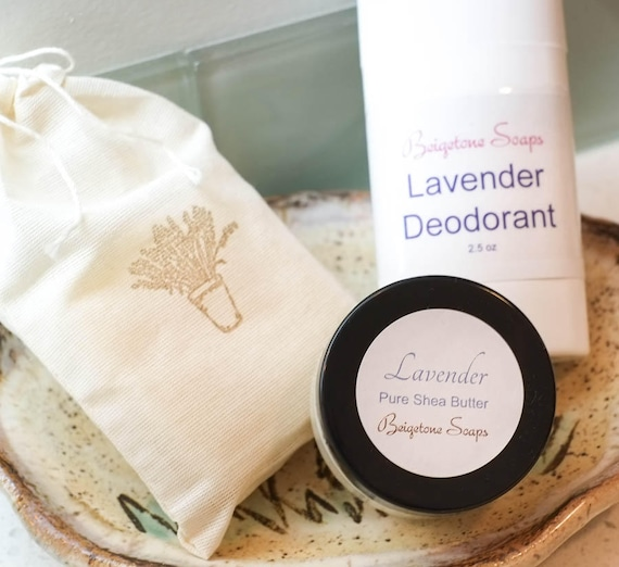 Lavender Set | 4 oz Bubbly Bar, 2.5 oz Top Odor Control Deodorant and 2 oz Pure Shea Butter Skin