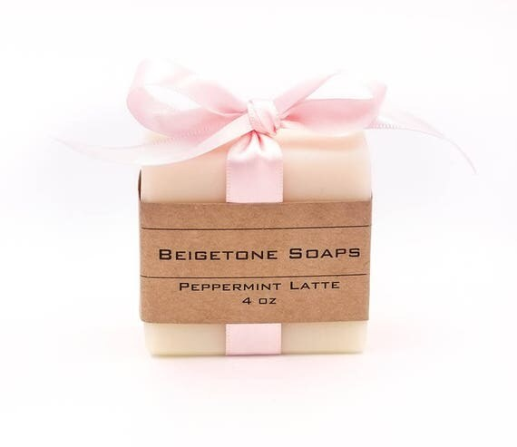 Peppermint Bar with Pink Silk  Bow | 4oz | Velvety Soap Bar Gentle on Skin