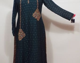 Ladies gold beaded netted olive green chiffon pakistani dress size S
