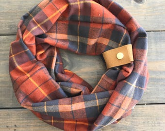 Orange, Gray, and  Mustard Flannel Scarf with Mustard Leather Cuff