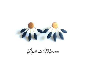 Earrings Golden pastille, black petals