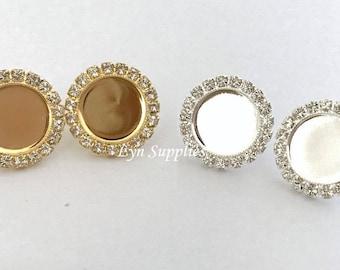 Flatback Halo Earstuds, 12mm or 8mm Glue On Rhinestones Stud Earrings Base Gold or Silver