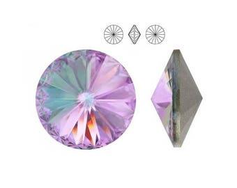 1122 VITRAIL LIGHT 14mm Swarovski Crystal Rivoli Round Pointed Foiled Back Purple Crystal 2 pieces
