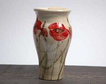 Ceramic travel mug, Large travel mug, Handmade travel mug, poppies travel mug