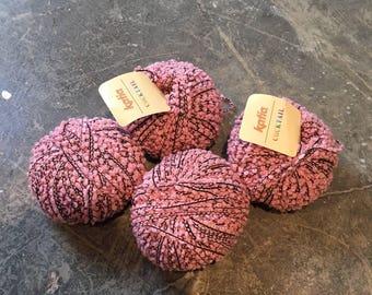 Destash Yarn, Katia Cocktail, Lot of 4 Skeins, Pink Yarn Lot, Boucle Wool. Acrylic Polyester, Stash Builder
