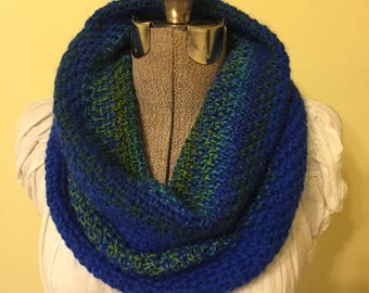 Crochet Cowl,  Pullover Collar, Infinity Scarf, Royal Blue, Green, Soft Scarflet, Snood