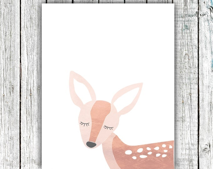 Girl's Nursery Wall Art Printable, fawn, deer,baby woodland, rose gold, Digital Download  #668