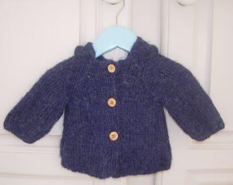 Navy Blue hooded vest Alpaca 3 months