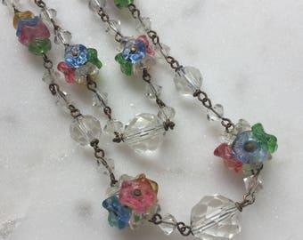 Vintage 1930's Czech Glass Flower Necklace