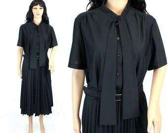 Vintage 1970s Black Dress Large - 70s Dress - Knee Length Black Dress - Black Tie Neck Dress - Stretchy Black Dress 1970s Large Black Dress
