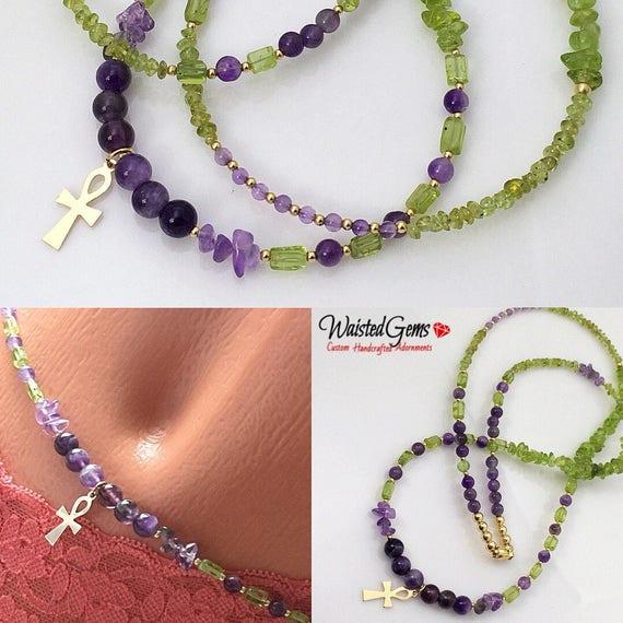 14k Peridot and Amethyst Waist Beads, Belly Chain, Waistbeads, african waist beads, bikini, waist gems, Boho Jewelry zmw4781