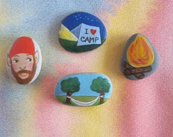 Story Stones hand painted by Claudia Nanni Fine Art - Camping themed Story telling Game - gift for kids - travel game - story rocks kids