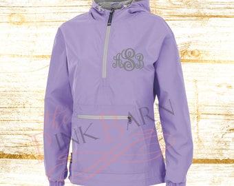 Monogrammed New Englander Pullover Rain Jacket, Monogram Charles River Pullover Rain Jacket, Women's Monogrammed Pullover Rain Jacket