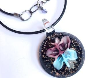 LAMPWORK BUTTERFLY NECKLACE glass pendant black faux leather choker black necklace butterfly pendant