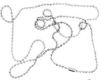 Necklace chain beads 68cm silver 1.9 mm