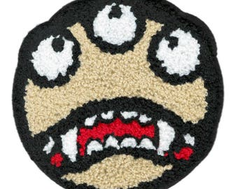 Xl 13cm Extra Large Cool Chenille 3 Eye Smiley Face Smile Patch Badge Applique