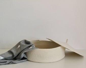 Rope basket , Lidded basket, Storage basket with lid, Medium basket, Laundry basket, Toys basket, Scandinavian basket, Storage bin