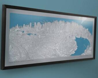 Thames Panoramic Wall Art Print, London Southbank Cityscape Office or Home Decor, Limited Edition Genealityart City Illustration Screenprint